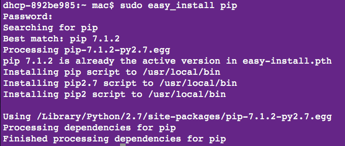 pip install numpy mac python 2.7