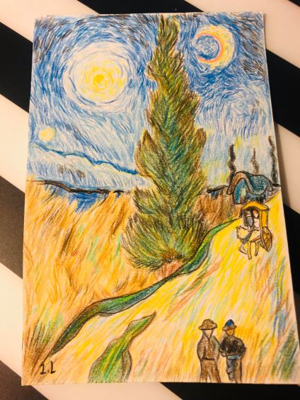 Road with Cypress and Star (After Van Gogh); a birthday gift to a friend